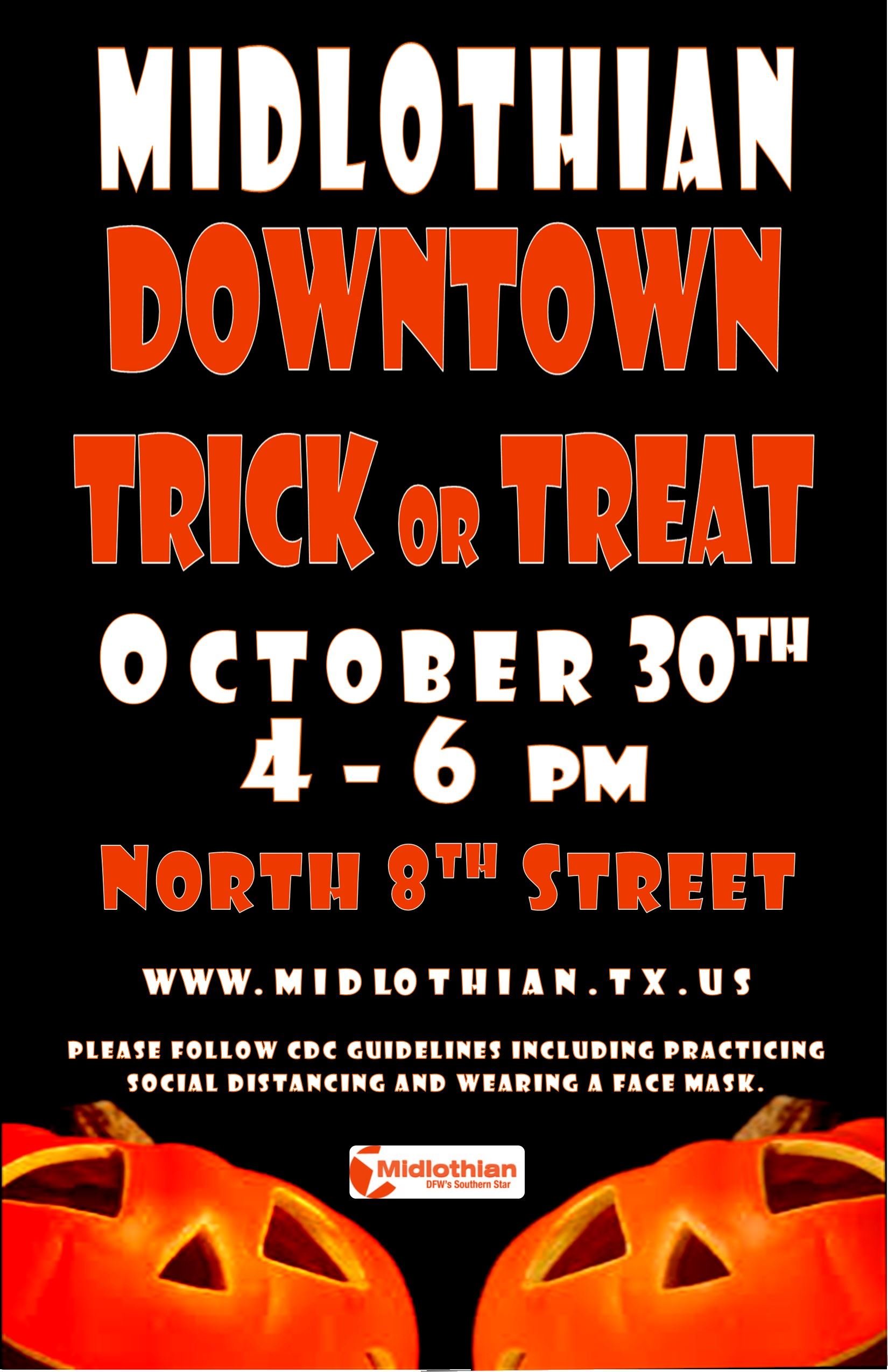 black/orange/white with jackolanterns and event date/time/location