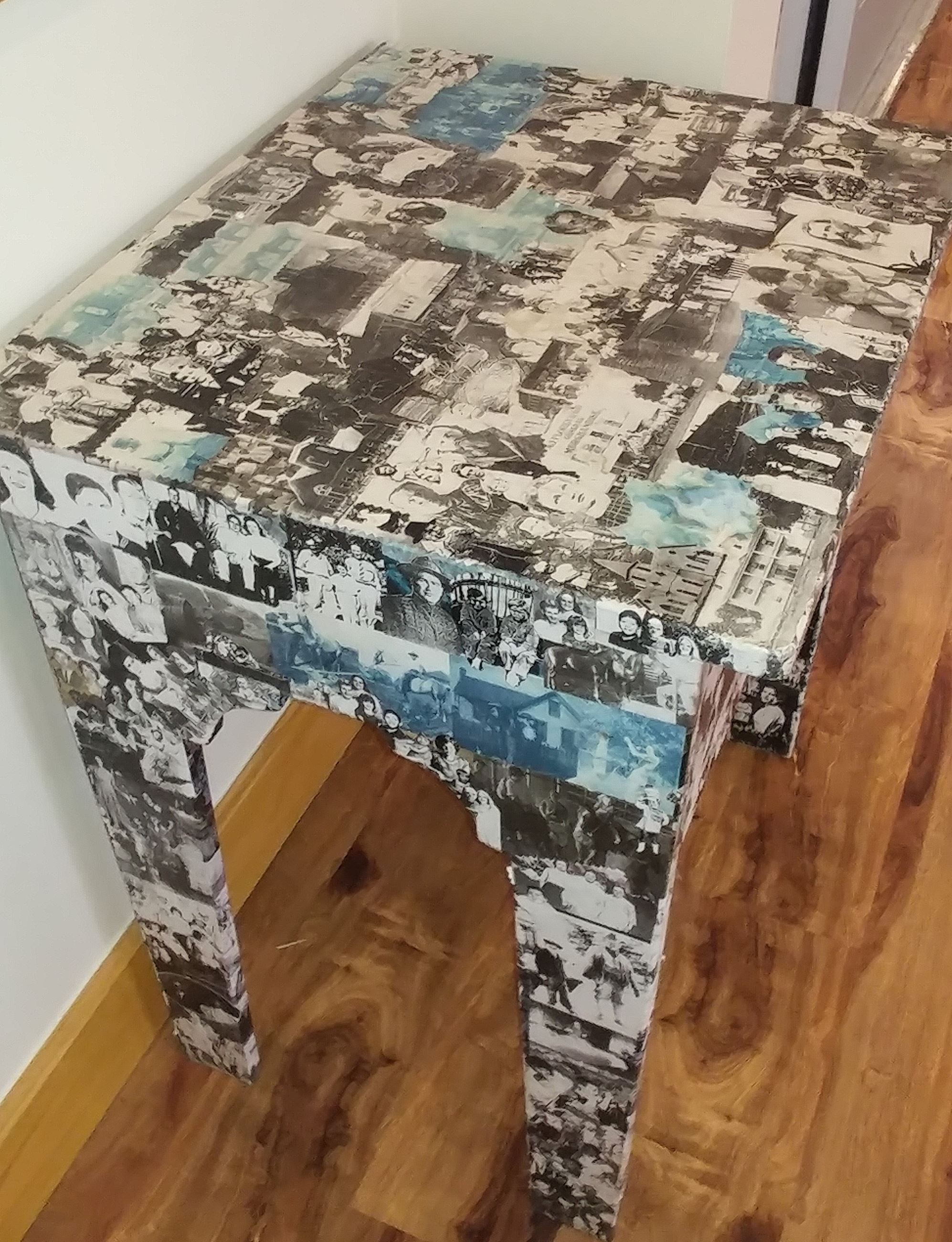 decoupage table with photos
