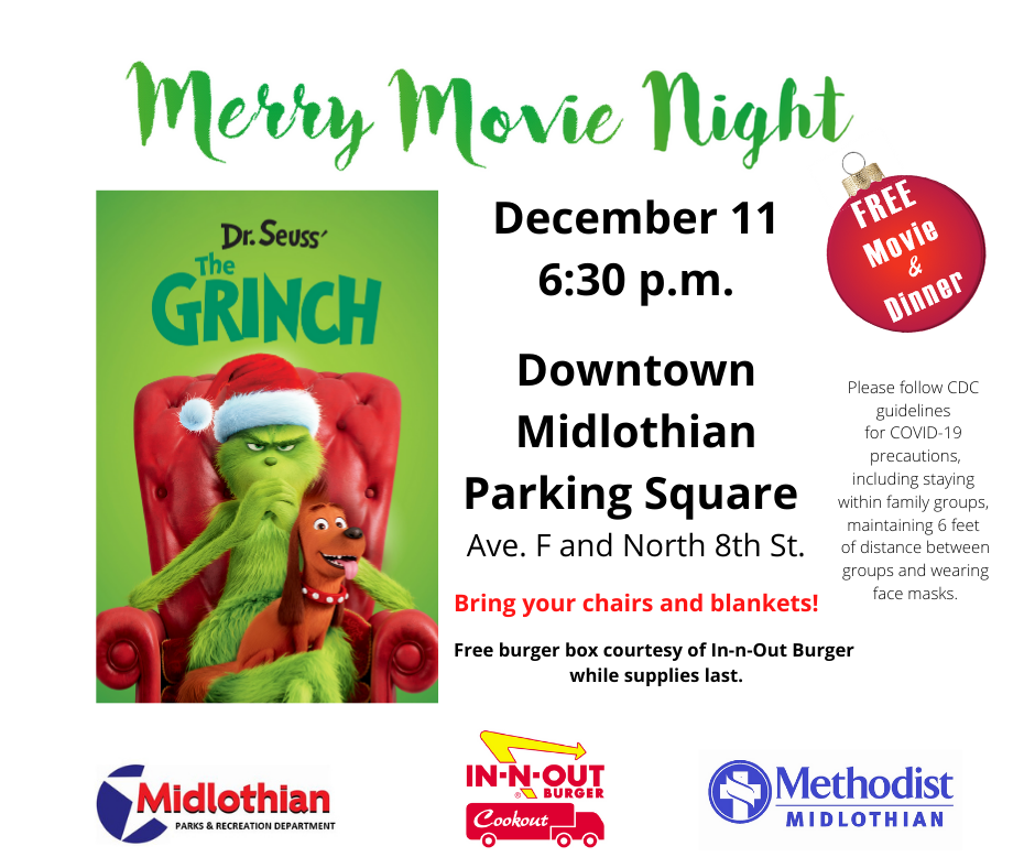 2020 Merry Movie Night Flyer - The Grinch